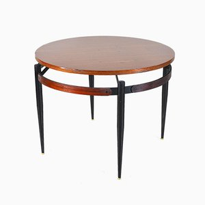 Round Coffee Table with Wooden Top in the Style of Gio Ponti, 1960s