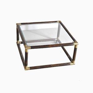 Quadratischer Couchtisch aus Bambus mit Messingrahmen & Glasplatte, 1960er