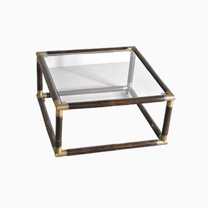 Square Bamboo Coffee Table with Brass Edges & Glass Top, 1960s