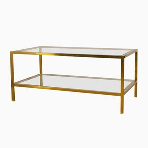 Brass Coffee Table with Double Glass Shelf, 1960s
