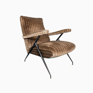 Brown Velvet Ribbed Lounge Chair, 1950s