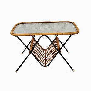 Mid-Century Rattan Coffee Table by Rohé Noordwolde, 1960s