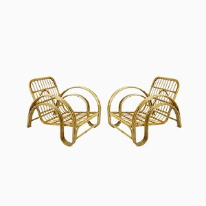 Dutch Rattan Lounge Chairs, 1960s, Set of 2