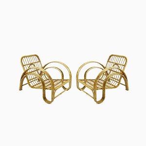 Dutch Rattan Lounge Chairs, 1960s, Set of 2