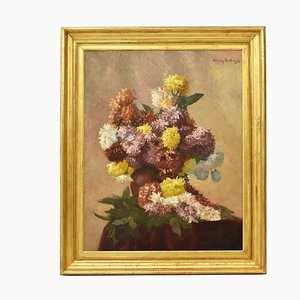 Flower Painting, Oil On Canvas, 19th-Century