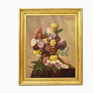 Peinture Florale, Huile Sur Toile, 19ème Siècle