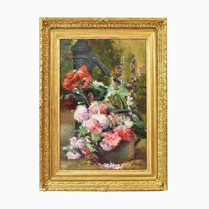 Peonies and Fountain, Oil On Canvas, 19th-Century