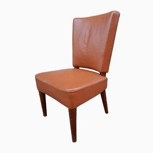 Sedia da pranzo in legno e pelle marrone di Osvaldo Borsani per Atelier Borsani Varedo, anni '30