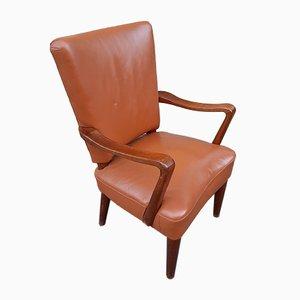 Sessel aus Holz & braunem Leder von Osvaldo Borsani für Atelier Borsani Varedo, 1930er