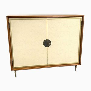 Bar Cabinet in Leather and Brass, Italy, 1950s