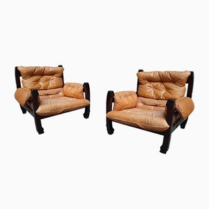 Catana Wood and Leather Lounge Chairs by Luciano Frigerio for frigerio di desio, 1970s, Set of 2