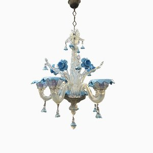 Blue Murano Glass Chandelier, 1950s