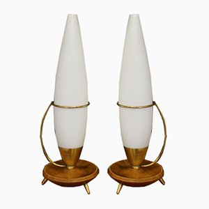 Mid-Century Teak and Brass Tripod Lamps from Philips, Set of 2