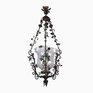 Antique Iron and Glass Ceiling Lamp