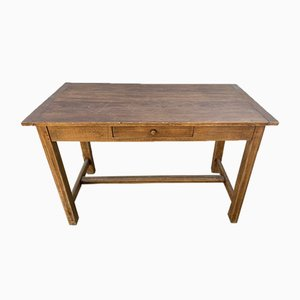 Vintage Solid Oak Dining Table with Drawer
