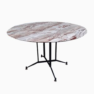 Iron and Brass Dining Table with Grey Marble, 1950s