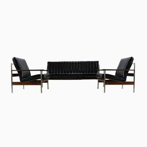 Rosewood Black Model 1001 Leather Sofas by Sven Ivar Dysthe for Dokka Møbler, 1950s, Set of 3