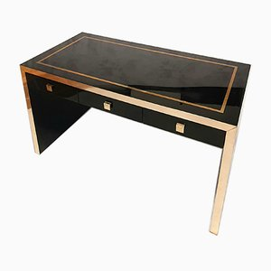 Lacquered Wood & Brass Desk by Jean Claude Mahey for Maison Roméo, 1970s
