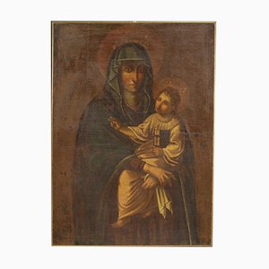 Antique Painting, Virgin with Child, 17th-Century