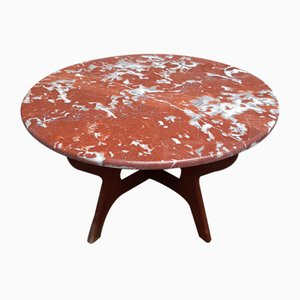 Round Mahogany Coffee Table in the Style of Ico Luisa Parisi, 1950s
