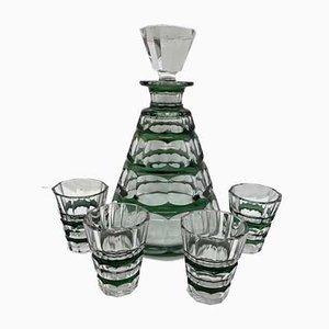 Glas Schnaps Set von Moser, 1930er, 7er Set