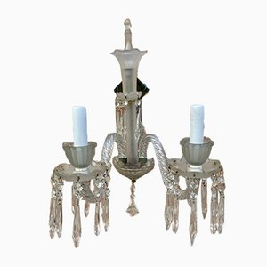 French Cut Glass Sconces with Crystals, 1922, Set of 2