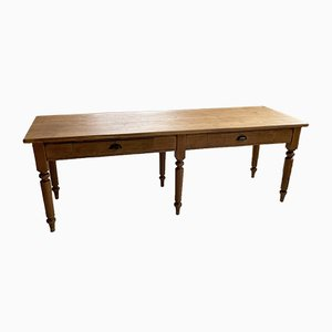 Antique Oak Farmhouse Dining Table with Turned Legs