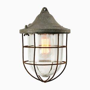 Industrielle Graue Mid-Century Metall & Glas Käfig Lampe