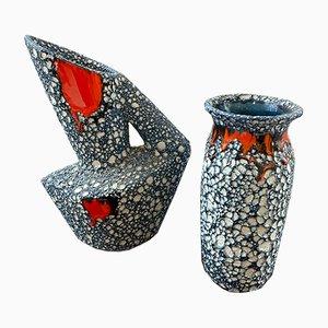 Fat Lava Vasen von Vallauris, 1950er, 2er Set
