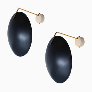 Brass and Black 232 Wall Lights by Bruno Gatta for Stilnovo, 1950s