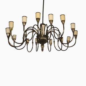 Lámpara de araña italiana Mid-Century de 16 luces, años 50