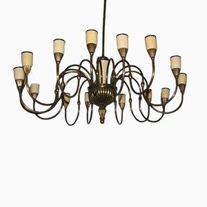 Lustre Mid-Century à 16 Ampoules, Italie, 1950s