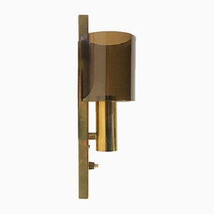 Danish Gilt Brass & Smoked Lucite Sconce from Hassel & Teudt, 1960s