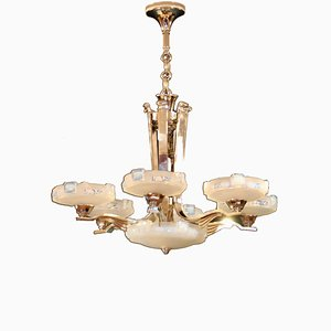 French 6-Arm Chandelier by Petitot for Atelier Petitot, 1940s