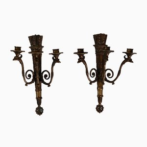 Bronze Wall Lamps, 19th-Century, Set of 2
