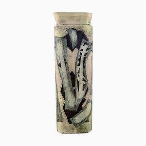 Jarrón con motivos abstractos pintados a mano