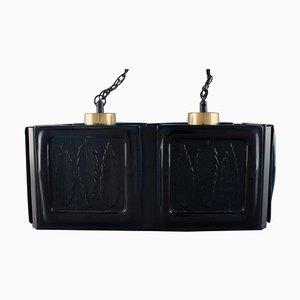 Lampada da soffitto in metallo laccato nero e vetro soffiato a bocca, Svezia