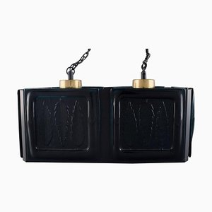 Swedish Ceiling Lamp in Black Lacquered Metal and Mouth-Blown Art Glass