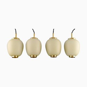 Danish China Lamps or Pendants in Matte Opal Glass, 1960s, Set of 4