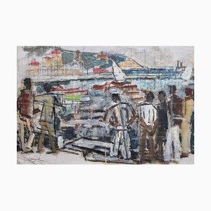 Matrosen im Hafen von Nizza von Alfred Salvignol, 1950er