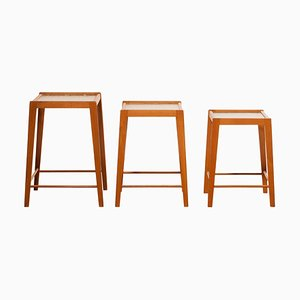 Oak and Glass Nesting Tables, Set of 2