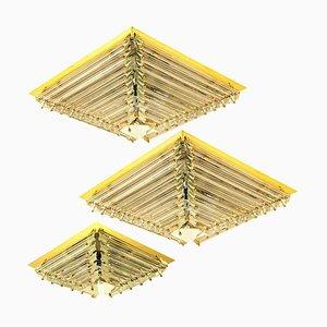 Gold-Plated Piramide Flush Mounts from Venini, 1970s, Set of 3