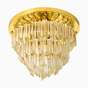 Four-Tiered Murano Astra Quadrilobo Crystal Chandelier from Venini, 1960s