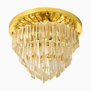 Lampadario Astra Quadrilobo in cristallo di Murano a 4 ripiani di Venini, anni '60