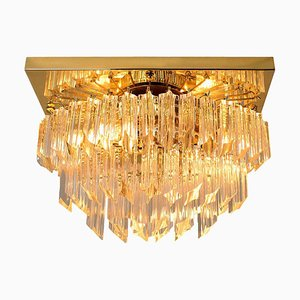Square Oval Shaped Gilt-Plated Flush Mount from Venini