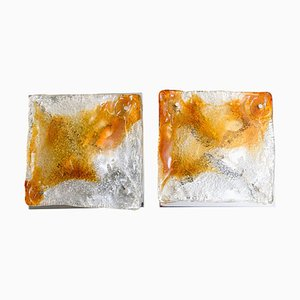 Murano Glass Abstract Wall Sconces from Mazzega, 1970s, Set of 2