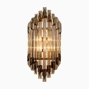 Große Murano Glas und Messing Wandleuchte im Venini Stil