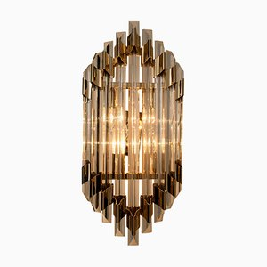 Large Venini Style Murano Glass and Brass Sconce