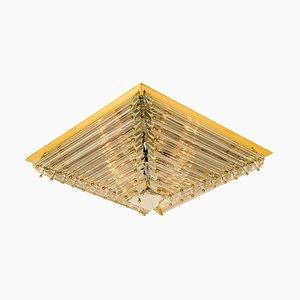 Gold-Plated Piramide Flushmount from Venini, 1970s