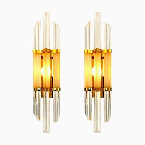 Venini Style Murano Glass and Brass Sconces, Set of 2